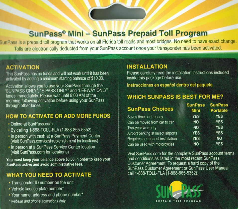 New Portable Sunpass Transponders – Jerusalem House